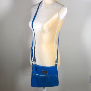 Nine West Vegan Blue Patent Crossbody Bag